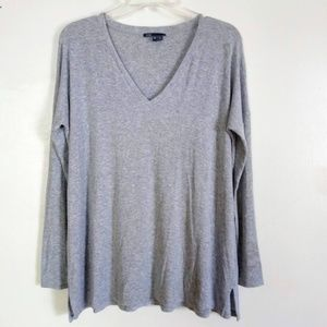 Vince Luxe V Neck Tee Heather Gray Relaxed Fit XS